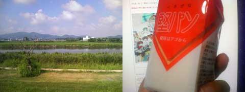実家近所の川とお土産の「堅パン」